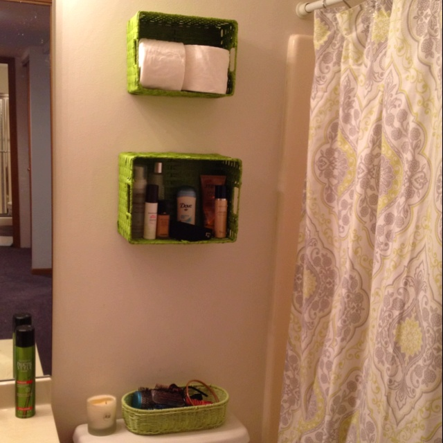 Small Bathroom Space Saver Maybe Not Green Baskets