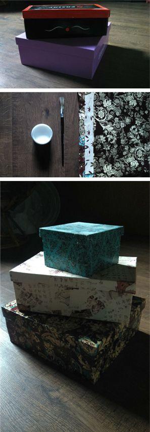 Shoe box DIY with decoupage technique