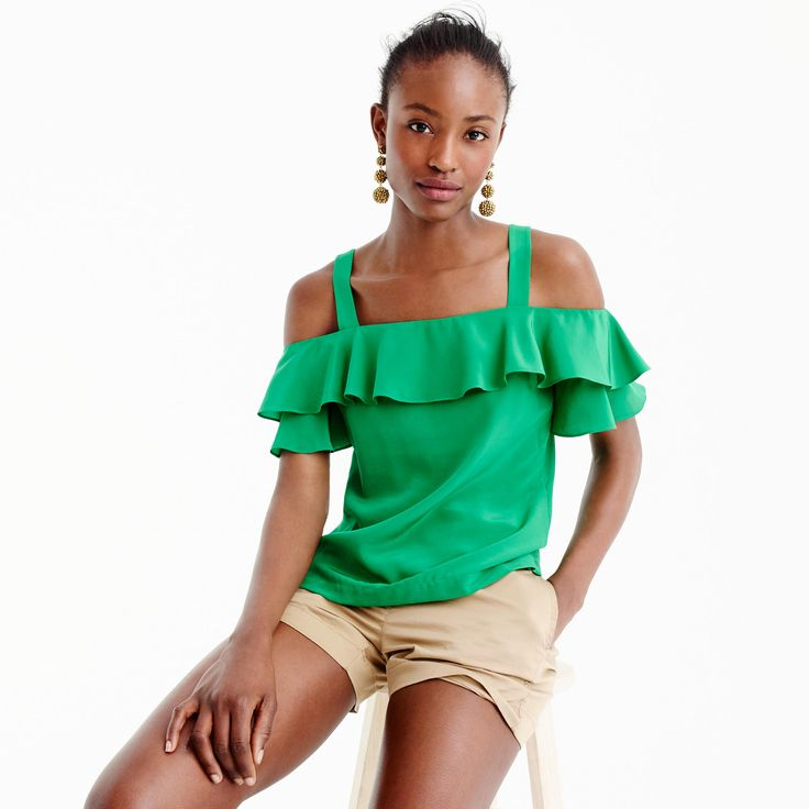 J.Crew - Cold Shoulder Top in warm clover green (petite, regular, tall) | starting in size 00 petite | silk ruffle top that shows off your shoulders.