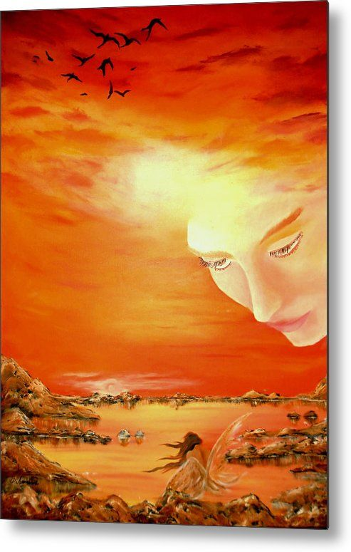 Metal Print,  sky,coastal,scene,sunset,sunrise,fairy,angel,island,heavenly,sea,ocean,water,guardian,shore,beach,light,face,fantasy,surreal,orange,beautiful,image,fine,oil,painting,contemporary,scenic,modern,virtual,deviant,wall,art,awesome,cool,artistic,artwork,for,sale,home,office,decor,decoration,decorative,items,ideas