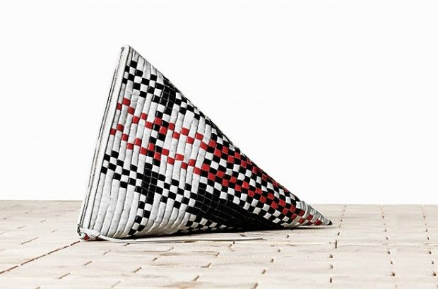 Berlingot clutch from Celine. Sew a clutch of your own in this unusual shape, or hand paint a woven clutch you already own to imitate plaid.