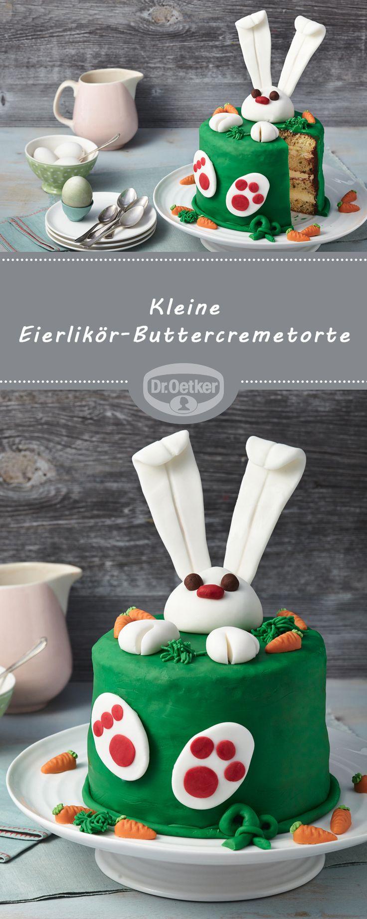 Kleine Eierlikör-Buttercremetorte: Wie Ostern schmeckt? Nach Eierlikör, Schokolade und dieser österlichen Fondanttorte #osterhase #ostern #rezept