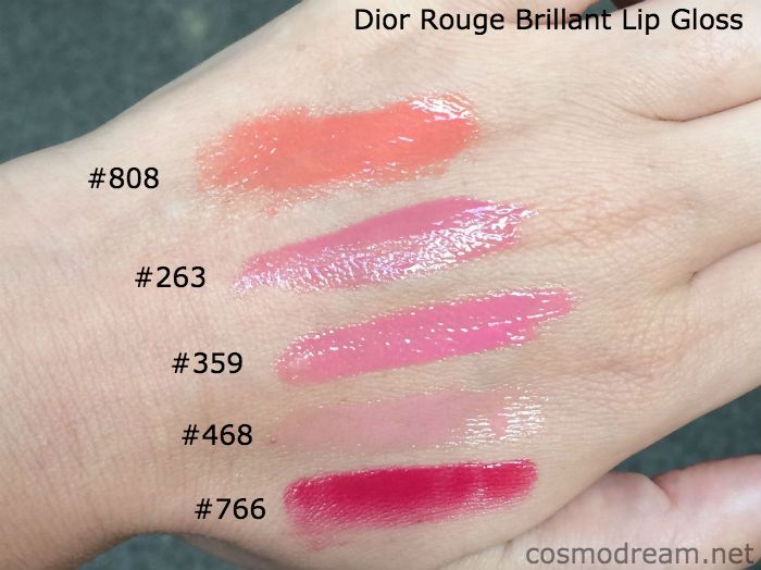 Свотчи блесков Диор Dior Rouge Brillant Lip Gloss swatches
