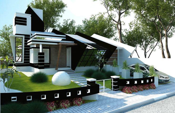 Fachada-de-casa-moderna - Fachada de Casa Terrea(173)Maquete Eletrônica-3D Foto Black Weekend Rossi - www.rossiresidencial.com.br - www.montesuacasa.com.br
