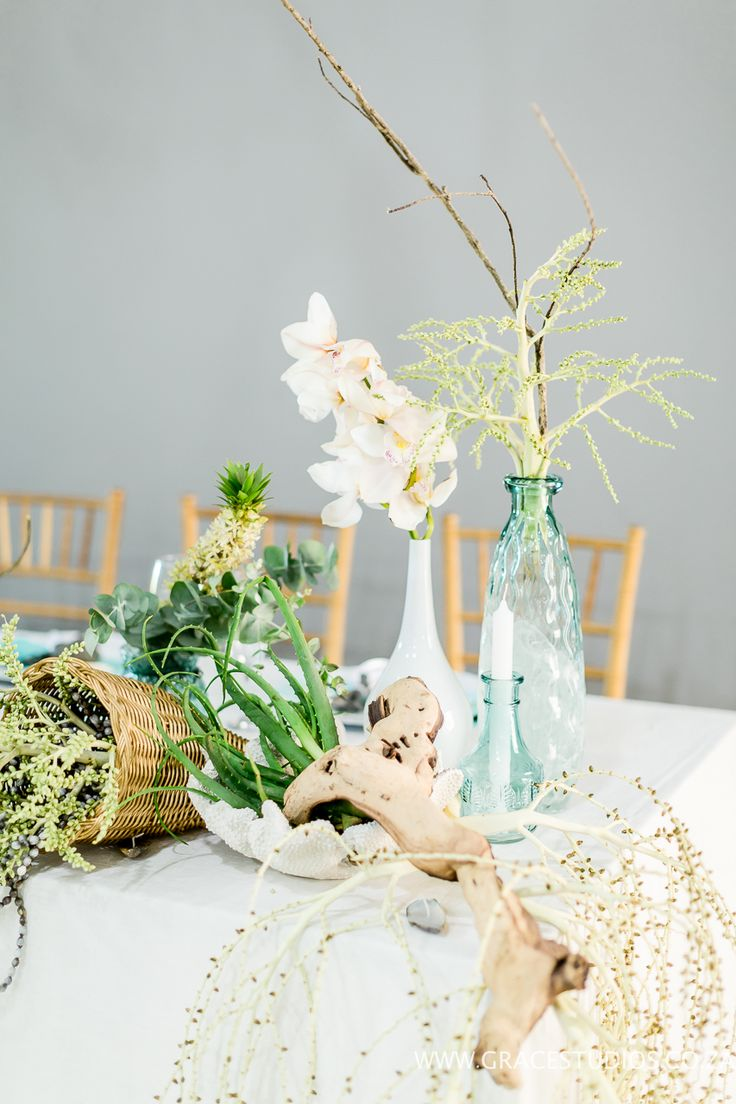 Teal Turquoise Inspiration drift wood, beach wedding decor, luxury south african beach wedding, palm berries   http://www.absoluteperfection.co.za/#!CHANTELLE-AND-RJS-ROMANTIC-INTIMATE-BEACH-WEDDING/c1jar/57ad8b610cf2d58e4d0423e6