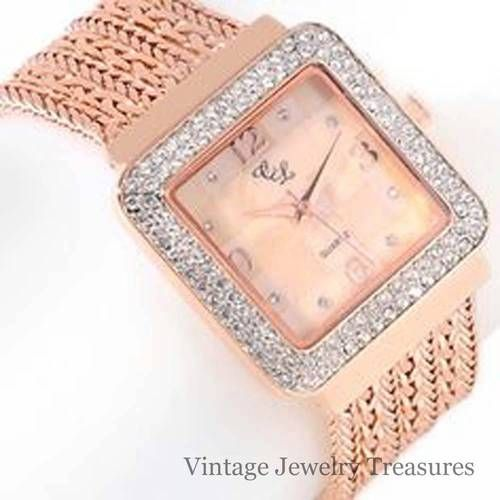 HSN Colleen Lopez ROSE GOLD Pave' Crystal 7 Row Chain Link Bracelet Watch New $39
