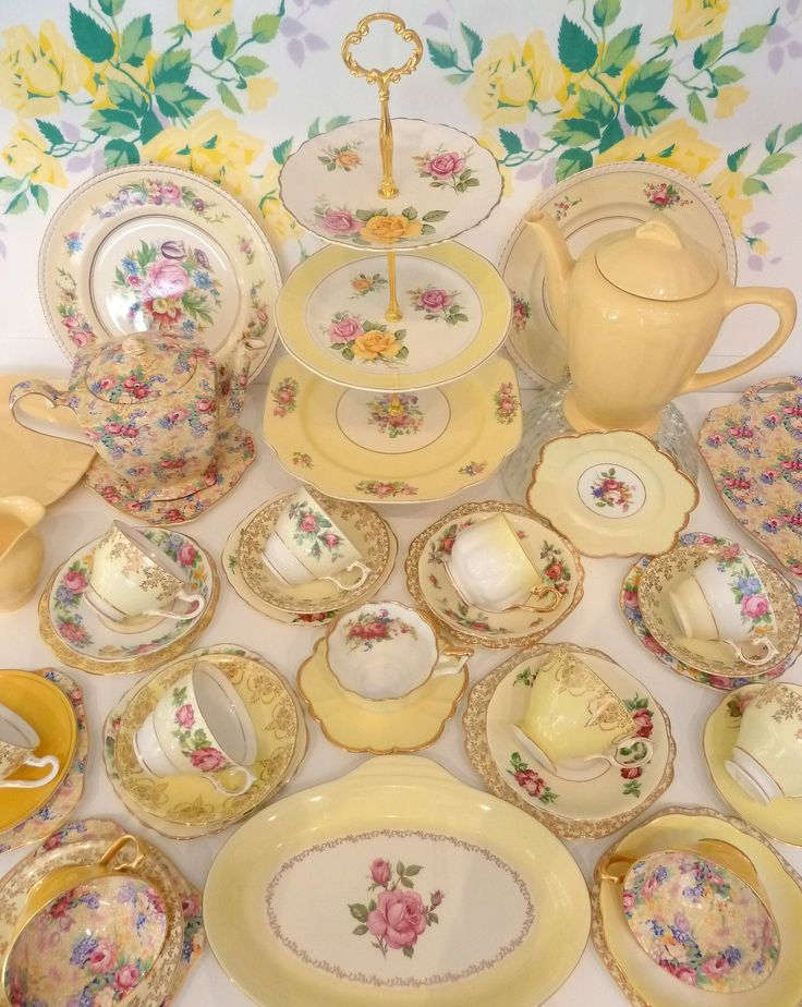 Sunny Vintage Yellows! If you don't have matching china, it's just as beautiful when you group similar colors together. Or, simply group all your favorite florals!
