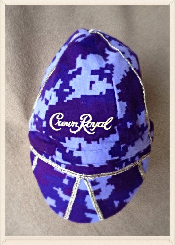 "Buy Welder's Cap Camo Crown Royal ""Special Edition"" Purple Liquor Bags - Reversible by itchintobestitchen. Explore more products on http://itchintobestitchen.etsy.com"