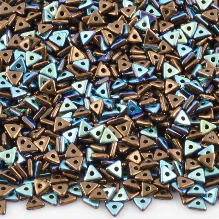 Seed Beads-4mm Tri-Bead-313 Jet Bronze AB-Czech-7 Grams