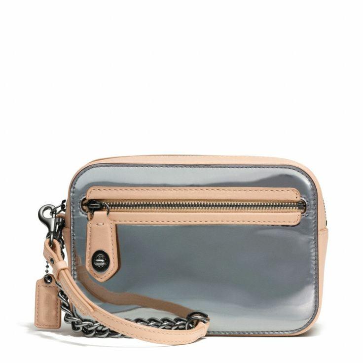 c1aeb50ca4 ... purse tote Coach Poppy Flight Wristlet In Mirror Metallic Leather -  ShopStyle Clutches ...