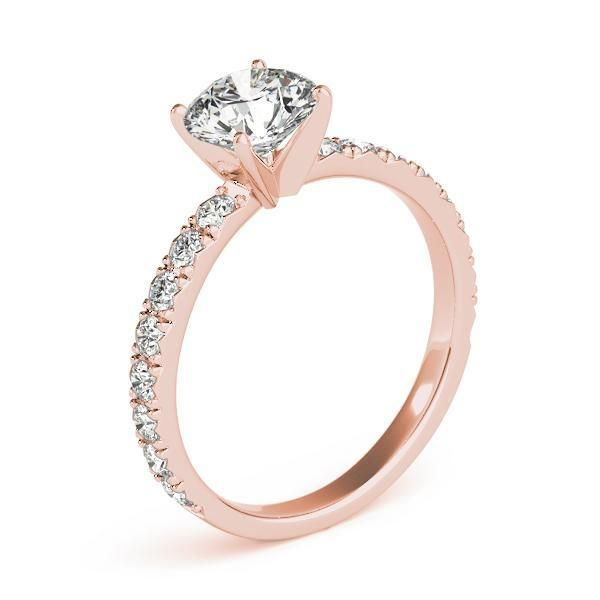 1 1/10 ct tw Single Row Prong Set Engagement Ring with G Color SI1 Clarity Diamonds GIA Center Stone.