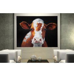 Obraz COW POP ART 90x120 cm - hnědá