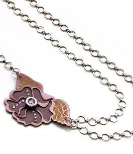 Camelia Necklace #leather #lasercut #engrave  #swarovski #chain #metal #organic #mechanic #flower  Stories2Wear – fashion print & jewellery