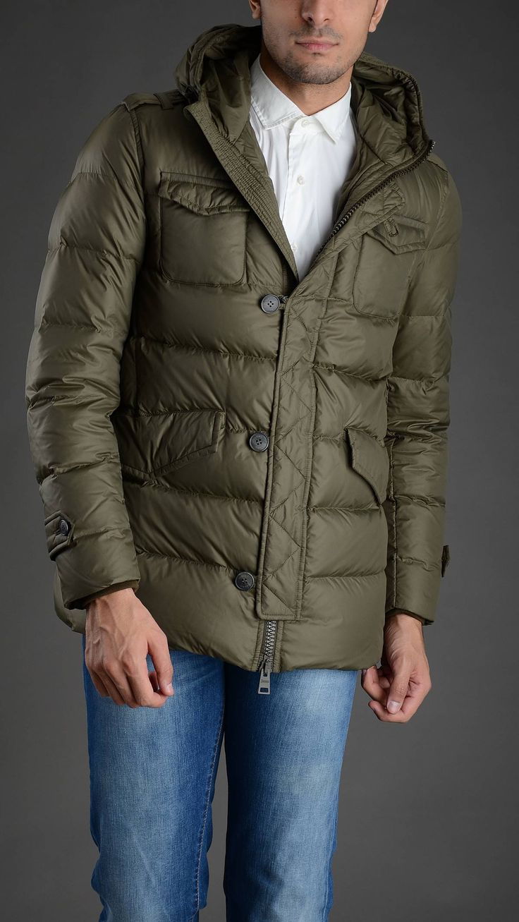 Herno Hooded quilted down jacket, four pockets, epaulettes, buttoned on flap cuffs