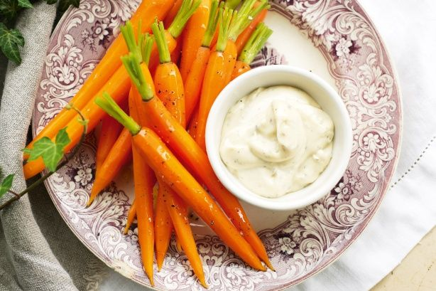 Don't leave sweet carrots to the Easter bunny! Dunk them in mayo laced with dill and spicy horseradish.