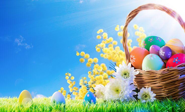 Wielkanoc, Koszyk, Kolorowe, Pisanki, Kwiaty, Promienie słońca