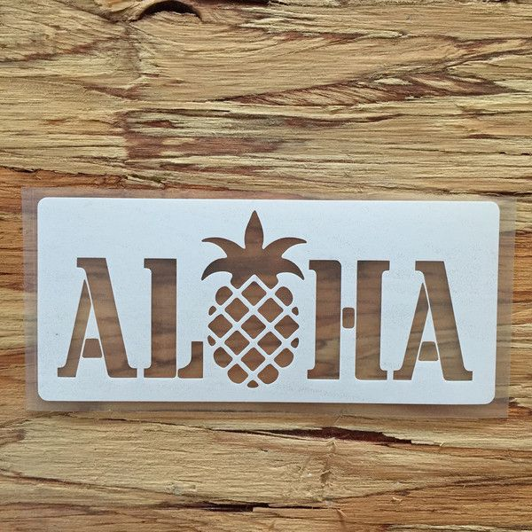 Stencil aloha pineapple decal for your laptop car waterbottle etc nalu blue hawaiian decals but with different word for hello