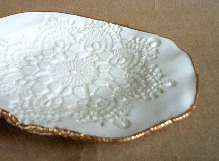 Ceramic White Lace handmade pottery Bowl by dgordon on Etsy, $18.00-Lace Potttery! Who can resist!