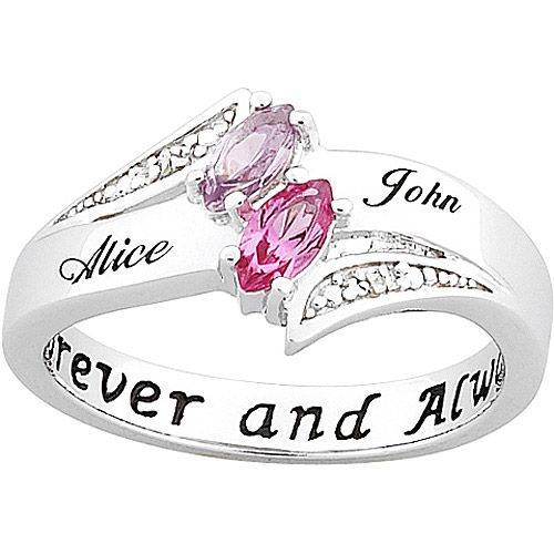 I LOVE this promise ring!!! Couple's Personalized Promise Ring in Sterling Silver with Diamond Accents