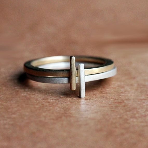 Modern stacking ring set, geometric rings, mixed metal stacking rings, 14k gold and recycled sterling silver eco friendly, metropolis custom