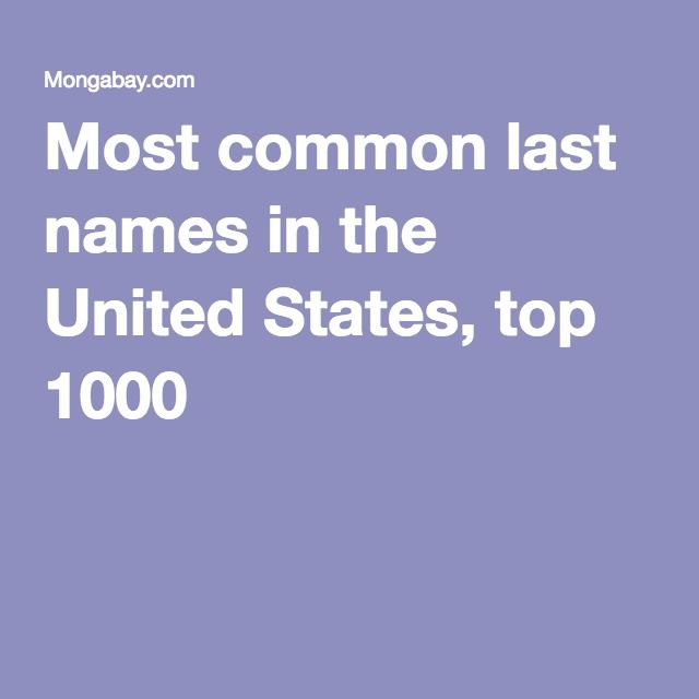 Most Common Last Names In The United States Top 1000