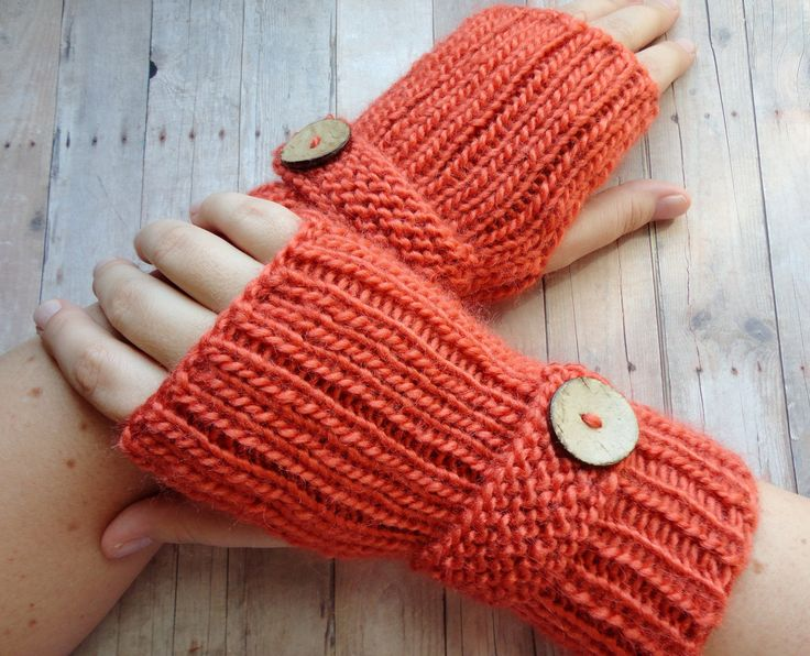 Soft Woolblend Fingerless Gloves in Burnt Orange with Wood Buttons Shabby Chic Fashion Gloves