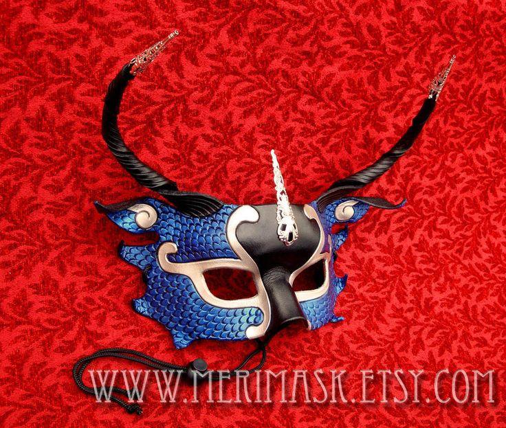 Синяя половина-Дракон Серебряная Филигрань кожаная маска на merimask