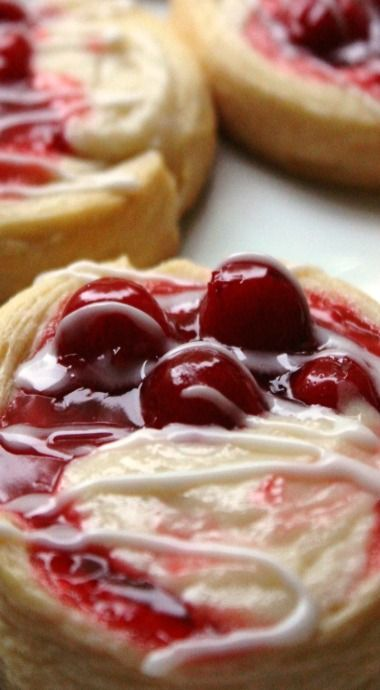 Cherry Cream Cheese Danish are so super easy, made with Pillsbury Grands!