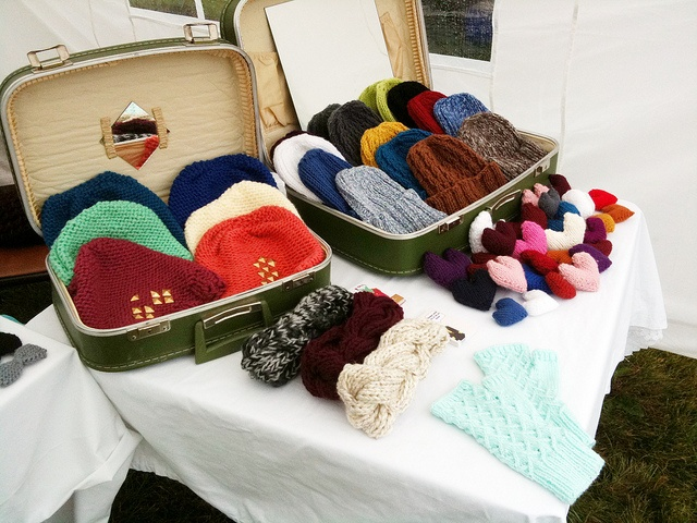 Mini Suitcases to display beanies - or use open boxes, open bags