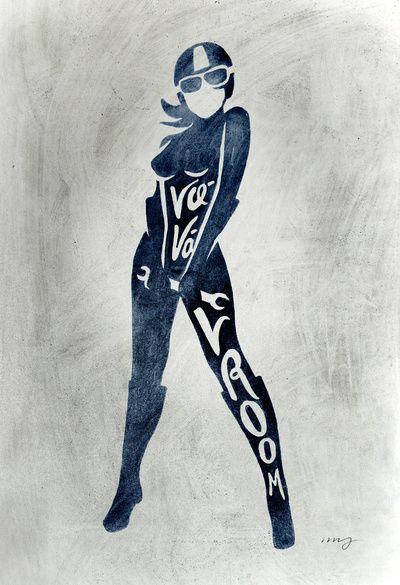 Va-Va-Vroom Motorcycle Pin Up Girl Art Print
