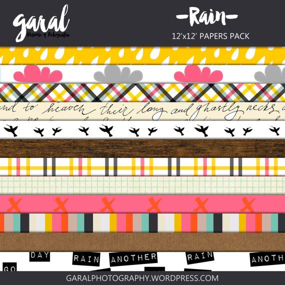 RAIN Scrapbook Papers Instant Download 12 Digital by marcegaral