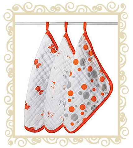 http://www.buttonbaby.com.au/adenanais-muslin-washcloths-orange-p-828.html - Pack of three 100% cotton muslin washcloths. These durable four-layer washcloths are extremely gentle on delicate baby skin, getting softer with each wash. The generous size of each washcloth, 38cm x 38cm, makes bathing quick, soft, and easy, and the attached loop lets you hang the cloth to dry to avoid wet tub-side heaps. These long-lasting and stylish bath time accessories will be the only washcloths you will need…