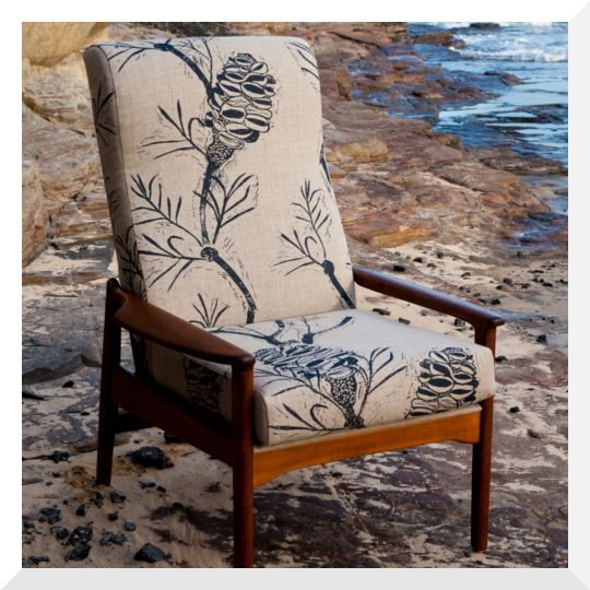 Cloth fabrics banksia linen on reconditioned tv chair.