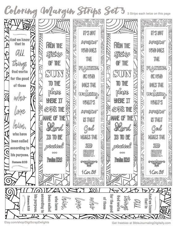 Printable Coloring Bible Journaling Margin By DigiScrapDelights Zentangle Zendoodle Bookmark Marginstrip