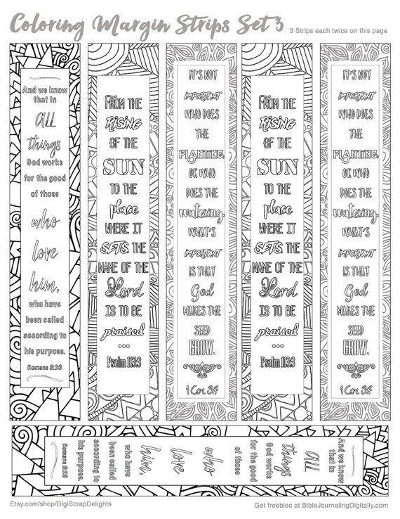 Printable Coloring Bible Journaling Margin Strips