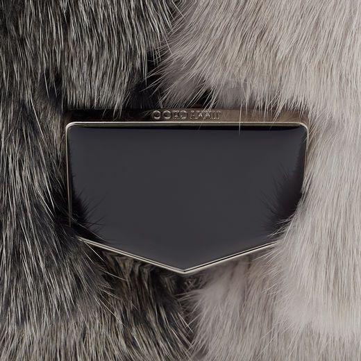 5417aa6b1b2 The Jimmy Choo LOCKETT PETITE Vintage Silver Etched Metallic Spazzolato  Shoulder Bag with Mink Fur