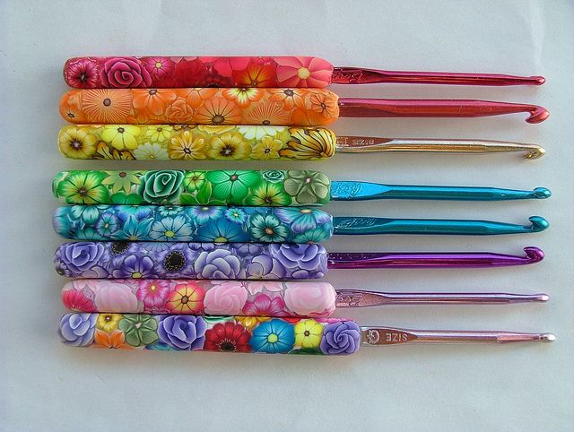 Polymer clay handles on crochet hooks