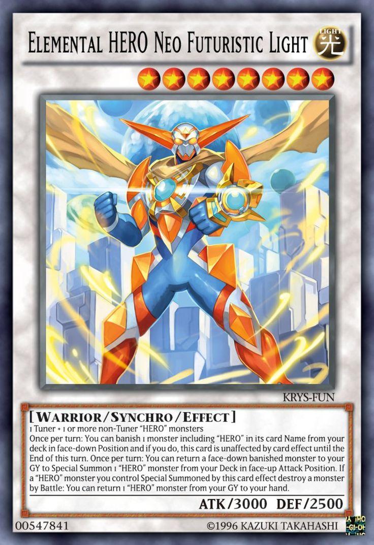 elemental hero neo futuristic light  rare yugioh cards