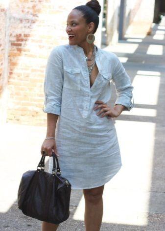 Льняное платье-рубашка для полных