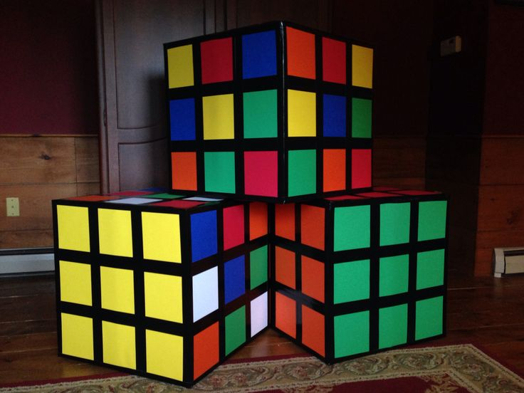 80s party decor easy to make rubiks cubes use a square box colored construction or scrapbook. Black Bedroom Furniture Sets. Home Design Ideas