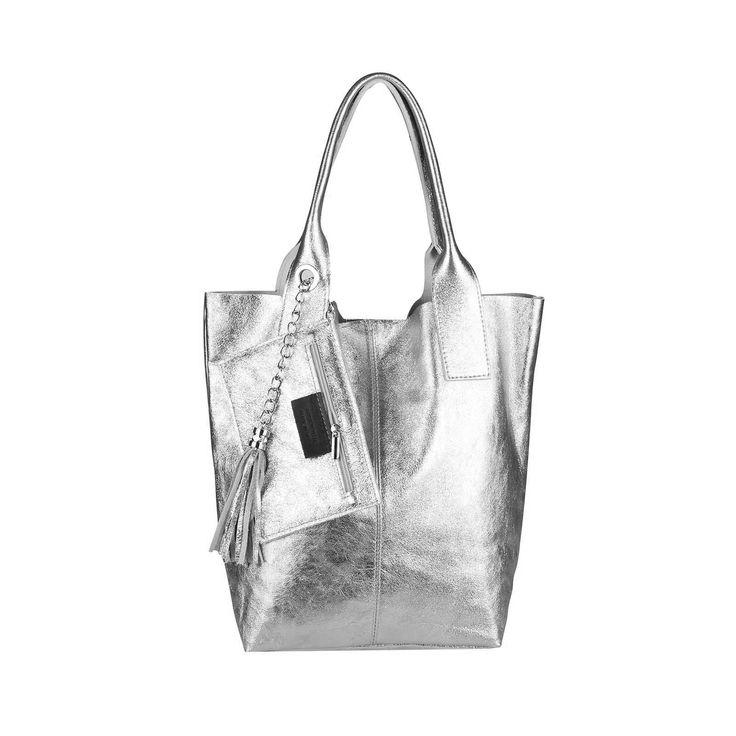 OBC Made in Italy Leder DAMEN TASCHE SHOPPER METALLIC DIN-A4 Schmucktasche Henkeltasche Handtasche Schultertasche Silber – Italyshop24.com