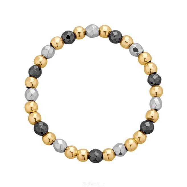 Pierścionek elastyczny / jump / hematyty / złocenie - Selfie Jewellery - Sklep Internetowy