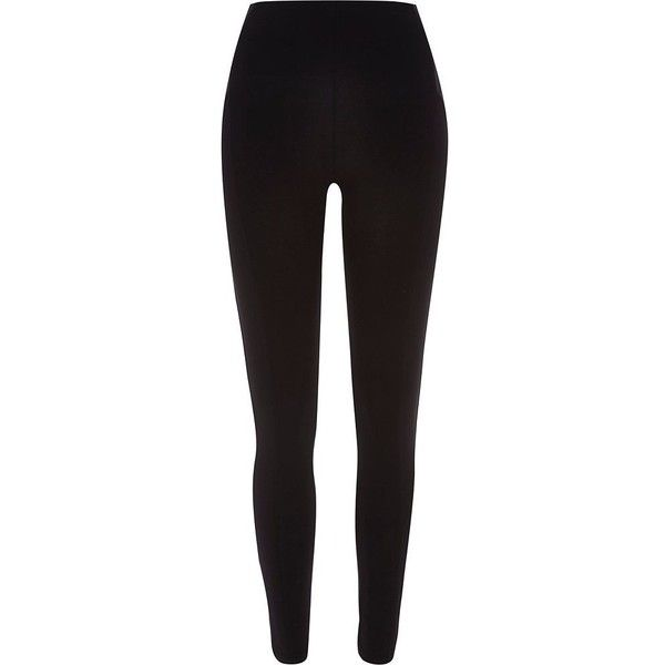River Island Black leggings ($15) ❤ liked on Polyvore featuring pants, leggings, bottoms, jeans, sale, black trousers, river island, black leggings and black pants