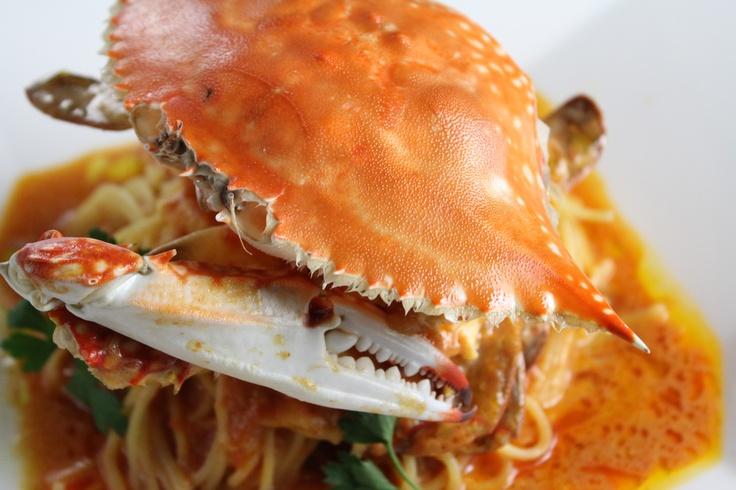 渡り蟹のトマトクリームソース  フェデリーニでどうぞ♪