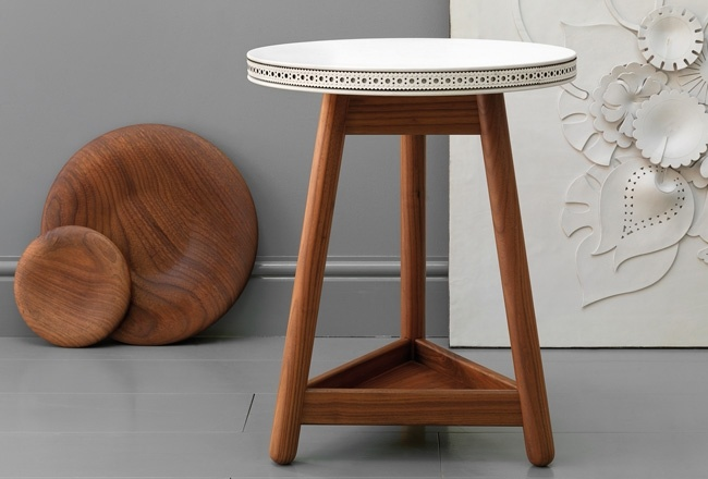 White leather Brogue side table by Bethan GRay for G