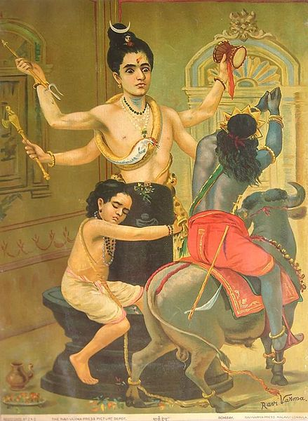 Shiva defends his devotee Markandeya from Yama, the god of death, First printed by Ravi Varma Press in 1910 Www.swapnarajput.in