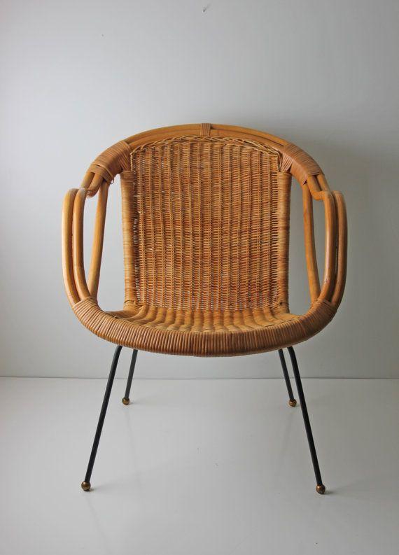 Mid Century Modern Arthur Umanoff Style Wicker Basket