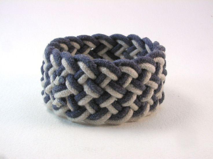 navy two strand rope bracelet  #WhatKnotShop on Etsy