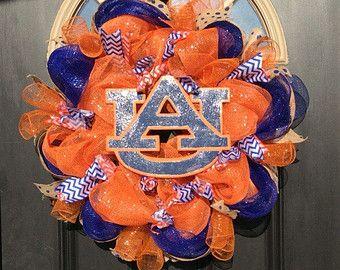 Auburn Deco Mesh Wreath Auburn Wreaths by GaslightFloralDesign