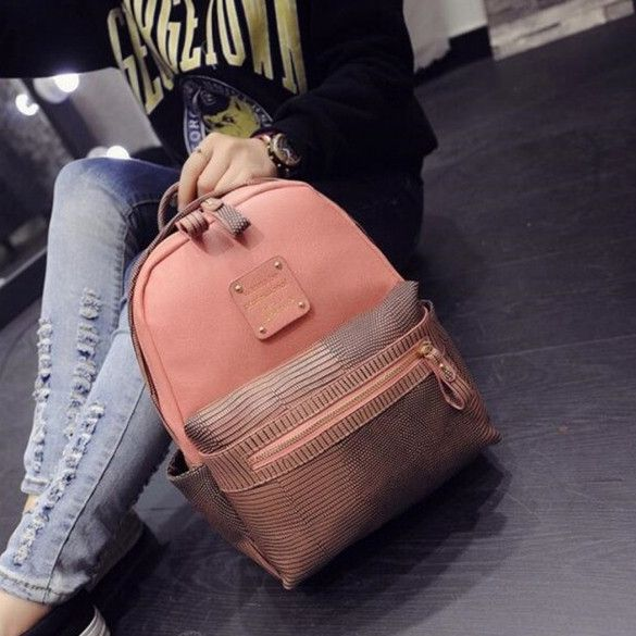Fashion Women Girls School Bag Artificial Leather Contrast Color Shoulder Bag Backpacks